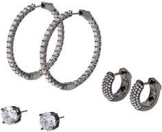 "Joan Boyce ""Once in a Lifetime"" CZ and Crystal Hugger, Stud and Hoop 3-piece Earrings Set"