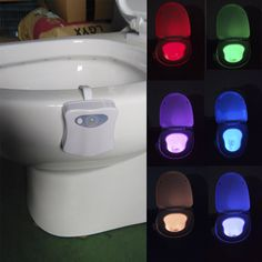New 8 colors dẫn vệ sinh đèn ngủ cơ thể motion kích hoạt ánh sáng nhạy cảm dusk để bình minh hoạt động bằng pin đèn 3d răng đèn