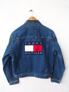 Vintage 90's TOMMY Hilfiger Big Logo 80's Hip Hop Embroidery Women Jeans Denim Jacket Button