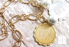 monogram necklace with pearl drop