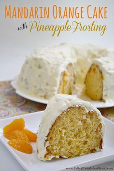 Mandarin Orange Cake with Pineapple Frosting