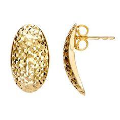 14k Yellow Gold Diamond Cut Oval Earrings