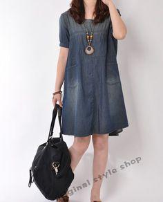 Denim dress Denim shirt summer short sleeve von originalstyleshop, $57.90