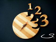 Wooden Modern Wall Clock,Handmade gift via Etsy
