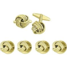 Tuxedo stud and Cufflink Set Gold colored Designer Inspired Loved Knot ** For more information, visit image link.