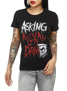 Asking Alexandria Logo Girls T-Shirt, BLACK