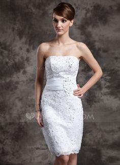 Sheath/Column Strapless Knee-Length Organza Satin Lace Wedding Dress With Beading Flower(s) Sequins (002015021)