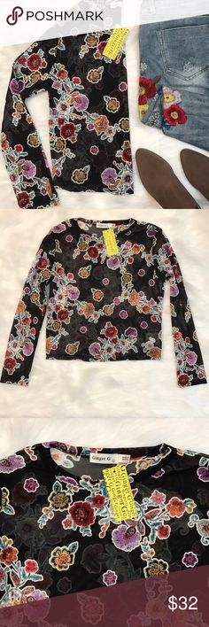 """Ginger G floral sheer sleeved shirt Super trendy and cute shirt  Sheer material with floral design  From shoulder down it's 25"""" length on the arms  18""""bust  20"""" length  New with tags  No stains or rips  Smoke free home  Feel free to make an offer 💕 Tops Blouses"""