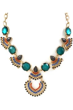 Chloe Statement Necklace in Royal and Teal
