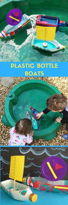 Plastic bottle boats. Make super cute floating boats using recycled plastic bottles! Perfect DIY kids summer toy.