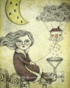 Fine Art Print of Surreal Illustration Big Eyed by TheWishForest, $20.00