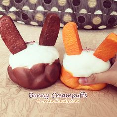 These are adorable and SUPER squishy cream puffs in the shape of a bunny!
