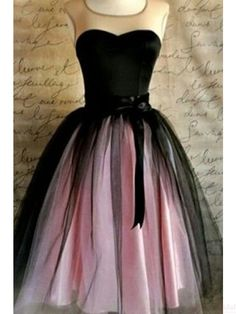 2017 elegant homecoming dresses, black and pink knee length prom dresses, party dresses #SIMIBridal #promdresses #homecomingdresses