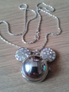 mickey mouse head with rhinestones watch water resistant necklace + s.p  chain