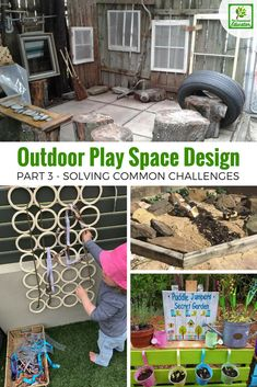 Whether you are just modifying or designing outdoor play spaces from scratch you are going to encounter challenges - the simple solutions in this post to will help you jump over the problems and create your ideal outdoor learning environment! Outdoor Education, Outdoor Learning Spaces, Outdoor Play Areas, Outdoor Activities For Kids, Outdoor Fun, Nature Activities, Physical Education, Eyfs Outdoor Area Ideas, Education Logo