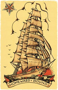 11 x 17 Homeward Bound 2 Pirate Ship masted sailing vessle Navy boat Sailor Jerry Style Flash Poster Print decoration on Etsy, $9.95