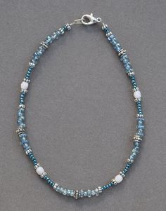 Jewelry - Anklets - Soft Blue and Silver Anklet by JewelryArtByGail on Etsy - SOLD