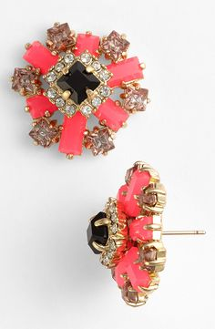 Love these coral and gold Kate Spade crystal earrings!