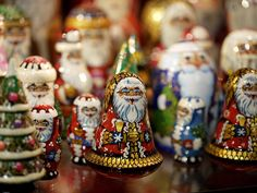 At the Christmas Market in Prague's Old Town Square, little Father Christmas chocolate filled delights.