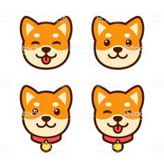 Cute Cartoon Shiba Inu Puppy Face Icon Set Happy Dog With Tongue Shiba Inu Puppy Puppy Cartoon Shiba Inu