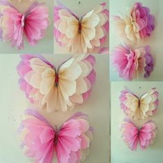 """20"""" 14"""" hanging girls birthday Party room decorations Tissue paper butterflys"""