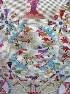 Fly away with me,pattern by Marg Sampson-George...hand appliquéd by Lisa Egan,my favourite block,loved making these cute little birds.