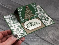 Stampin' Up! Perfectly Plaid meets Toile Tidings An easel card using the Toile Tidings DSP and the Perfectly Plaid Bundle. Love the traditional Garden Green colour with added neutrals Crumb Cake and Very Vanilla. Stampin Up Christmas, Christmas Cards To Make, Xmas Cards, Handmade Christmas, Holiday Cards, Prim Christmas, Christmas 2019, Christmas Ideas, Fancy Fold Cards