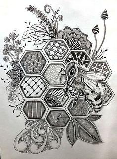Sweeter Than Honey by Dylan Brady Cool Art Drawings, Pencil Art Drawings, Art Drawings Sketches, Zentangle Drawings, Zentangle Patterns, Bee Tattoo, Bee Art, Tatoo Art, Art Sketchbook