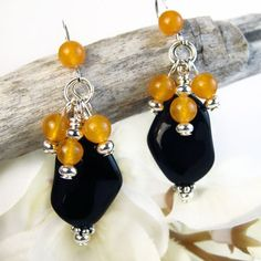 Black and Orange Earrings Halloween Samhain Dangles Handmade Jewelry | PrettyGonzo - Jewelry on ArtFire