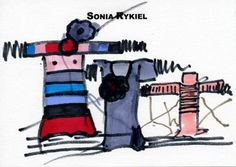Sonia Rykiel, Sketch on card, 1970, 12.9 x 17.9 cm