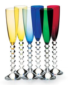 Vega Flutissimo by Baccarat at Neiman Marcus. Champagne Flutes, Baccarat Crystal, Crystal Glassware, Waterford Crystal, Cut Glass, Glass Art, Colored Glass, Drinkware, Mugs