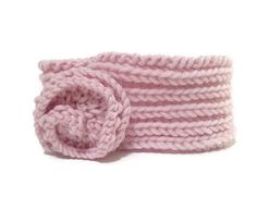 Baby Pink Knitted Ear Warmer Headband for by EmAndBoo on Etsy