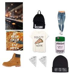 """How I'm Spending My Valentines"" by hallie-hamilton ❤ liked on Polyvore featuring Timberland, Vans, Moschino, women's clothing, women, female, woman, misses and juniors"