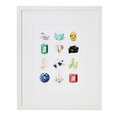 This print from an original watercolor by Katie Gastley depicts a vibrant collection of 12 gems and minerals.
