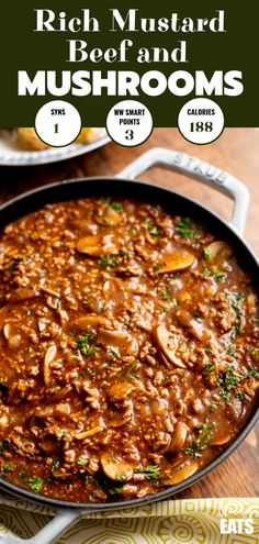 Low Syn Rich Mustard Beef with Mushrooms - the perfect meal for the whole family. Low Syn Rich Mustard Beef with Mushrooms - the perfect meal for the whole family. Healthy Beef Recipes, Meat Recipes, Cooker Recipes, Recipies, Recipes With Mince, Slimming World Minced Beef Recipes, Minced Beef Recipes Easy, Whole30 Beef Recipes, Fish Recipes