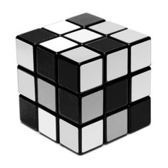 Black, white, and shades of grey Rubik's Cube