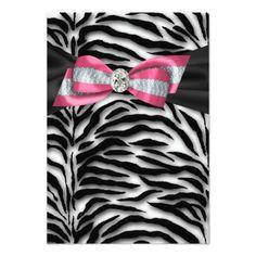 Pink Zebra Party Invitation RSVP