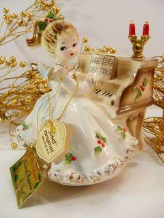 Vintage Josef Originals Christmas Angel at Piano Music Box Silent Night | eBay