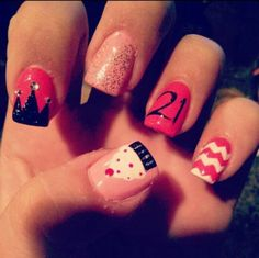Shellac Manicure Ideas | 21st Birthday nails