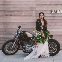 Must Have Shot (something like this with my black jacket and bouquet and floral headpiece, minus the motorcycle)