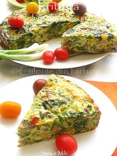 Frittata with zucchini Frittata, Omelette, Quiches, Vegetarian Recipes, Cooking Recipes, Romanian Food, Romanian Recipes, Tasty, Yummy Food