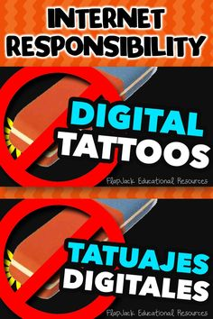 Here's an internet responsibility paper slide video in English and Spanish to show your kiddos that what we do on the internet can be as permanent as tattoos! Great discussion starter!