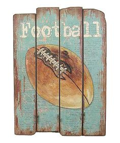 Sports bedroom for the boys? Another great find on #zulily! 'Football' Wood Sign #zulilyfinds