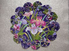 Pink and Purple Iris Doily Candle Mat by SursyShop on Etsy, $8.00