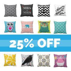 25% off all Zazzle designer throw pillows - use code FABRUARYSALE at checkout