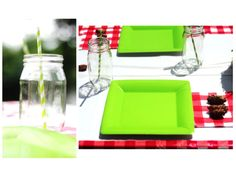 camping tablescape  camping lantern  camping party  grass bowl  wood bowl  gingham   tin pail  flashlight party favors  camping cake  party in a box  camping signs  mason jars  red and green  pinecones  birthday party  baby shower  unisex party  gummy worms  trail mix  camping theme
