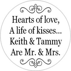 Mr. and Mrs. Kisses Stickers Personalized Round Candy by WUYfavors