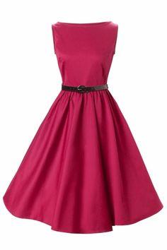137aefa83d3 1950 s Audrey Hepburn style swing party rockabilly evening Raspberry  vintage dress