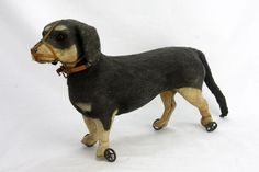 Antique German Dachshund Dog Pull Toy ca1910