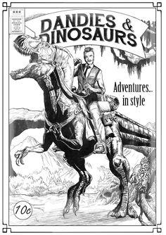 Dandy riding a dinosaur